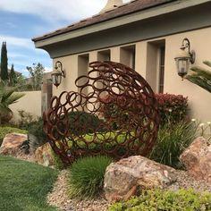 Five foot sphere from six inch pipe Metal Art Sculpture, Steel Sculpture, Outdoor Sculpture, Outdoor Art, Metal Garden Sculptures, Yard Sculptures, Metal Art Projects, Garden Projects, Welding Projects