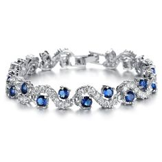 Platinum Plated Swarovski Elements Cubic Zirconia Bracelet For Women  Sparkle Crystal Wrist Band Bangle Wedding Bridal Jewely Gift 62bc1cb65665