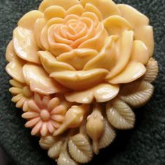 Carved Bakelite Celluloid Clip Pin Brooch Japan Flower Rose. Vintage Bakelite Celluloid Clip Pin/ Brooch Marking on back Japan this is a lovely piece colors are Light yellow - light red or pink and light green i