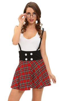 f64ad2d819 Teasing Schoolgirl 2pcs Suspending Skirt Dress Fancy Costumes