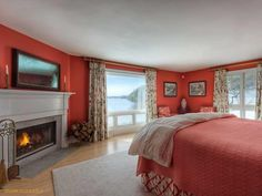 Maine Real Estate from Legacy Properties SIR - MLS - Single Family Home at 28 & 34 Seaside Farm Road, Friendship, Maine 04547 Home, Fireplace Mantels, Maine Real Estate, Red Interiors, Property, House, Maine Waterfront, Home And Family, Red Interior Design
