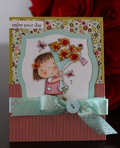 Betsy Bluebell stamp using flower softand Jillibean papers.