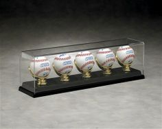 5 Baseball Display with Gold Glove Acrylic Display Case B-3043 by N Case It.  Buy it @ ReadyGolf.com