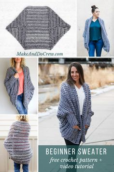 Creatively constructed from a simple rectangle, this flattering chunky crochet sweater comes together easily with no shaping. Crochet Cardigan Pattern, Crochet Jacket, Crochet Shawl, Crochet Stitches, Crochet Patterns, Crochet Shrugs, Crochet Yarn, Sewing Patterns, Chunky Crochet