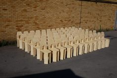 As a performance, a game and a test of strength, British designer Max Lamb made 60 chairs by hand out of slabs of polystyrene over just three days. Lamb Craft, Chair Pictures, Plastic Coating, Single Chair, Three Dimensional, Chair Design, Three Days, Wood, Crafts