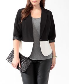 Colorblocked Cutaway Blazer   FOREVER21 PLUS >> This is cute!