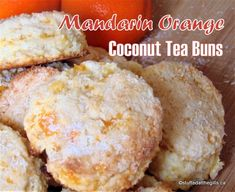 Mandarin Orange Coconut Tea Buns are great for a snack or lunch box treat. Serve them with butter and jam or eat them plain. Orange Scones, Orange Muffins, Orange Tea, Coconut Tea, Coconut Muffins, Coconut Recipes, Baking Recipes, Tofu Recipes, Bread Recipes