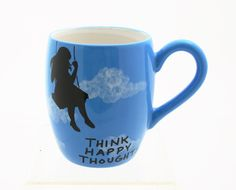 Mug In turquoise Blue with Silhouette of Girl on Swing by LennyMud, $16.00