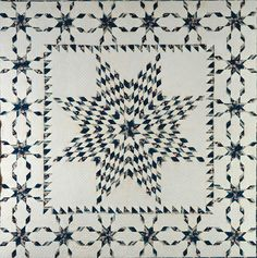 """Star of Bethlehem with Star Border Quilt, 1840-1860, ca. 91 x 91 in., unknown artist, in """"Super Stars"""" at the American Folk A Museum at Lincoln Square   artnet Magazine"""