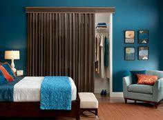 closet door alternative for bedroom Custom Drapes, Closet Door Alternative, Wood Shades, Bamboo Curtains, Windows And Patio Doors, Home, Woven Wood Shades, Closet Curtains, Home Decor