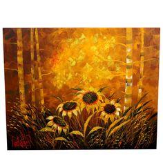 Decorative Large Painting of Sunflowers Signed Lee Reynolds | 1stdibs.com