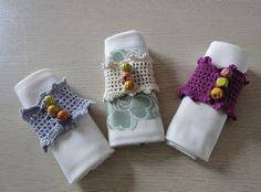 lot de trois ronds de serviette réalisés au crochet avec du coton - neufs : Cuisine et service de table par crochicrocha