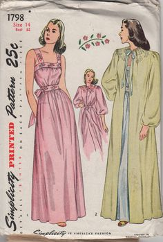 Simplicity 1798 1940s Ladies Lingerie Pattern Negiless Robe Nightgown womens vintage sewing patttern by mbchills on Etsy