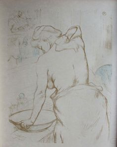 Woman Washing Herself (Elles Series) / Artist: Henri Toulouse-Lautrec /  Origin: France - 1990 /  23 x 19 in (58 x 48 cm) / 1 out of 11 lithographs from Toulouse-Lautrec's Elles Series reissued by the  Bibliothèque nationale de France in 1990.