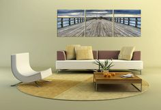 Along The Pier at Lake Ammersee Triptych Photograph