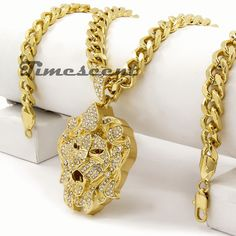"""Iced Out Hip Hop 14k Gold Plated Stardust Jesus Cuban Pendant 24/"""" Rope Chain"""