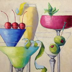 """Mixed Cocktails by Pat Doherty Oil ~ 24"""" x 24"""""""