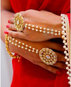 1 PC Gold Plated Mughal Bracelet studded with Simulated Kundan Enamel and Faux Pearl and Open ended ring is adjustable. Bracelet Full Size : or 11 Base : High Grade Alloy Metal Hand Jewelry, India Jewelry, Antique Jewelry, Silver Jewelry, Silver Bracelets, Silver Ring, Bangle Bracelets, Silver Earrings, Hand Accessories