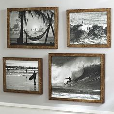 Inspiration: print out old photos from the boys two grandpas of them surfing back in the 70's, frame and put on walls. (Black And White Surf Prints)