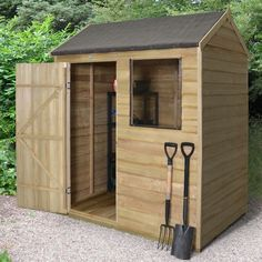 The Hartwood x Overlap Pressure Treated Reverse Apex Shed features. The Hartwood 6 Wooden Storage Sheds, Storage Shed Plans, Wooden Sheds, Small Garden Features, Small Garden Tool Shed, Buy Shed, Apex Design, Apex Shed, Exterior Wood Stain