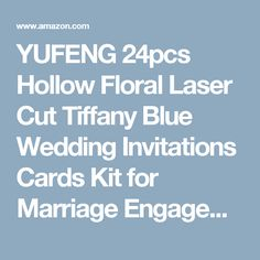 YUFENG 24pcs Hollow Floral Laser Cut Tiffany Blue Wedding Invitations Cards Kit for Marriage Engagement Birthday Bridal Shower