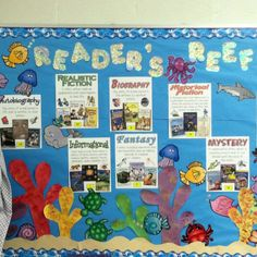 Ocean themed classroom: Readers reef this reading area also fits with the theme. It may motivate students to read as well. Disney Classroom, Classroom Quotes, First Grade Classroom, Kindergarten Classroom, School Classroom, Classroom Themes, Ocean Themed Classroom, Classroom Layout, Preschool Bulletin