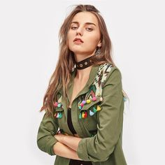 Green Embroidered Tassel and Pom-Pom Jacket