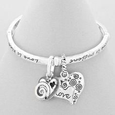 "Spiral Love Heart Stretchable Bracelet Spiral Love Heart Stretchable Bracelet. Includes card  1.25"" H Jewelry Bracelets"