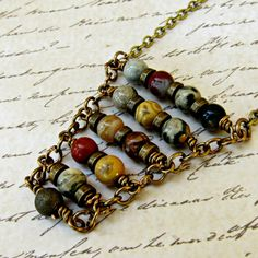 Natural Stone Boho Necklace, Bohemian Necklace, Long Hippie Necklace, Ethnic Brass Necklace Natural Crazy Lace Agate and Jasper beads are