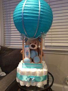 Unique hot air balloon diaper cake, baby boy, adorable