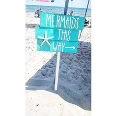 Mermaids this way sign  mermaid party  mermaid  by TaggedWithLove1