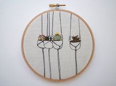 Embroidery Art 'Baby Planters' 5 inch Stitch art by Cheese Before Bedtime by CheeseBeforeBedtime on Etsy https://www.etsy.com/listing/199374486/embroidery-art-baby-planters-5-inch