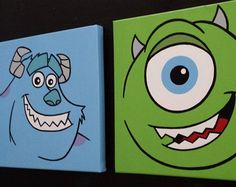 "Set of 2 10""x10"" Monsters Inc. Themed Nursery Art, Custom, Hand Painted Wall Art - Edit Listing - Etsy"