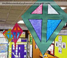 "K is for kite.  Kite pattern to go along with the story ""The Kite"".  Could make construction paper bows with _ite family words to go down the tails"