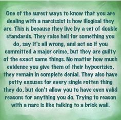 This is completely true! A sociopath is different.They May think like this but they charm instead of deny.The true narc is totally into denial about their wrong doings and most totally project them onto you. This is Lilly exactly! Narcissistic People, Narcissistic Mother, Narcissistic Abuse Recovery, Narcissistic Behavior, Narcissistic Sociopath, Narcissistic Personality Disorder, Narcissistic Characteristics, Narcissist Father, Under Your Spell