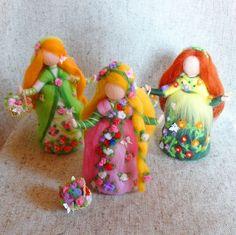 Flower fairy doll Waldorf doll felt Needle felted doll