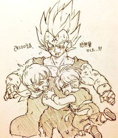 Vegeta, Bulma, and Trunks