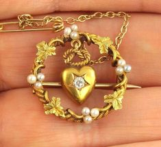 Antique Victorian Gold , Diamond & Pearl Brooch With Heart Drop In Box Diamond Brooch, Pearl Brooch, Brooch Pin, Antique Boxes, Pearl Set, Stick Pins, Carat Gold, Peridot, Victorian