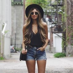 Thin black cami lace neck line top with mini denim mid blue shorts IG accounts @revolveclothing @cath_belle