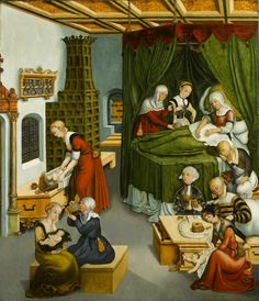Domestic Scene, no credit given but too good to pass by, looks like the work of Lucas Cranach the Elder
