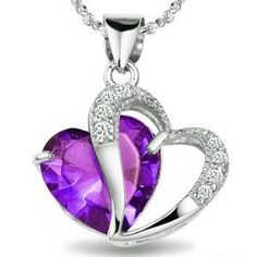 "Rhodium Plated 925 Silver Diamond Accent Amethyst Heart Shape Pendant Necklace 18""-sn3017"