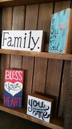 Family. Bless your heart. You &me. Hand painted on block oak wood by Wendy, Speaks Creations