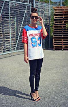 Oasap Numbers Tee, American Apparel Leather Look Leggings, Lulu's Single Strap Heels