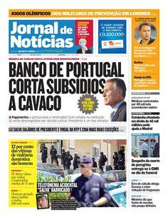 Já leu o JN hoje? Espreite a capa, onde se destaca o corte de subsídios a Cavaco Silva por parte do Banco de Portugal e os números da violência doméstica.