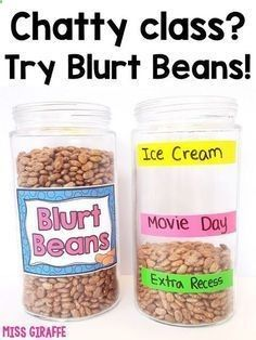 Chatty class? Blurt beans will save your sanity! Complete directions for how to implement this positive behavior management system in your class tomorrow!http://missgiraffesclass.blogspot.com/2016/10/25-chatty-class-classroom-management.html