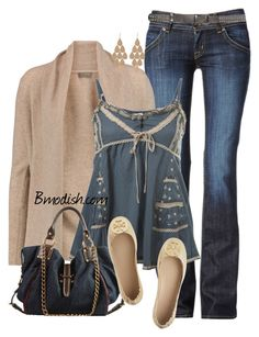 """Blue Trim Cami"" by wulanizer ❤ liked on Polyvore featuring Hudson Jeans, N.Peal, Miss Selfridge, Tory Burch and Irene Neuwirth"