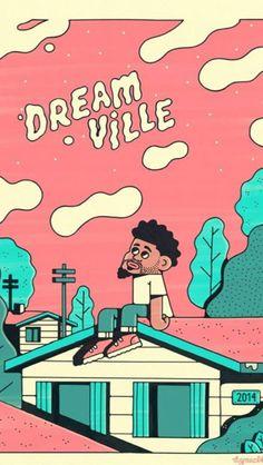 J cole Dreamville 2014 Forest Hills Drive art - dope artwork! Rap Wallpaper, Iphone Wallpaper, Screen Wallpaper, J Cole Art, Rita Ora, Big Sean, Rapper Art, Doja Cat, Hip Hop Art