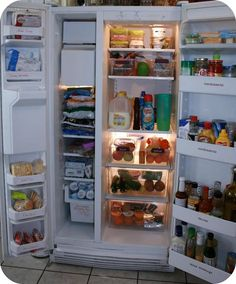 Organizing Your Refrigerator -- finally! someone does a side by side fridge.