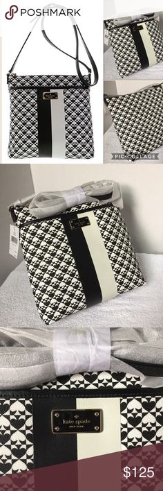 "NWTs! Kate Spade Keisha Penn Place Crossbody NWTs! Kate Spade Keisha Penn Place Crossbody in black & white. Will come in original store packaging, as shown. Size is approximately 10"" tall, 10.5"" wide, 3"" deep, 23.5"" drop on strap. Has hot pink interior with 2 open pockets and 1 zipper pocket. Exterior has open pocket front and attached strap. Cross hatched saffiano with spade design, gold hardware. 1216/6300/032617 kate spade Bags Crossbody Bags"