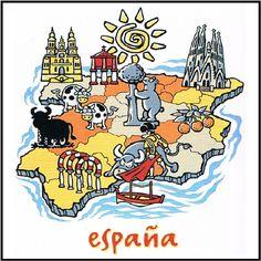 Imagen de España: marca España - Primero Estrategia - Consultora estratégica de Branding y Marketing Spanish Teacher, Spanish Class, Teaching Spanish, Map Of Spain, Spanish Projects, Class Activities, City Maps, Medieval Castle, Coloring Sheets